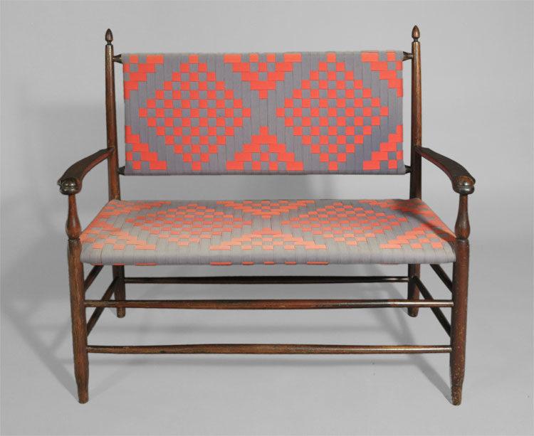 Rare Mount Lebanon  New York Shaker Settee. Shaker Furniture J K Russell Antiques Dealing in Shaker since 1979
